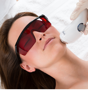 person getting laser hair removal